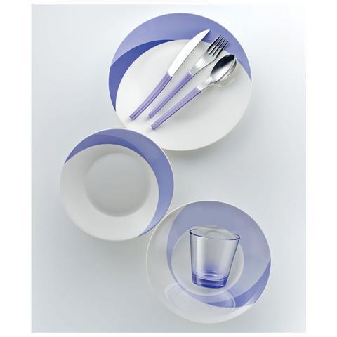 Set 7 Pezzi Piatti + Posate + Bicchiere Eme Natura Water Indaco