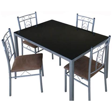 Sedie Per Tavolo In Vetro.Argonauta Set Tavolo Vetro Con Quattro Sedie In Metallo Cm 76 X