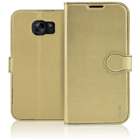 FONEX Identity Book Custodia a Libro per Galaxy S7 Colore Oro