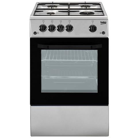 Cucina a Gas CSG42011FS 4 Fuochi Forno a Gas Dimensioni 50x50 cm Colore Silver