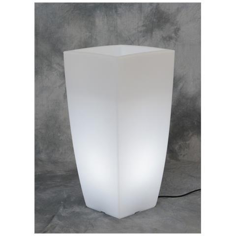 1pz Vaso Home Light Quadro Dimensioni Cm 33x33x70h Colore Bianco Ghiaccio