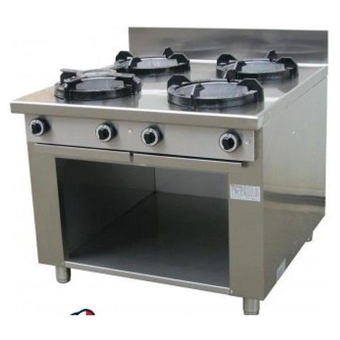 Cucina Wok etnica cinese giapponese a gas - 4 fuochi su vano aperto 1000x1000x850h mm