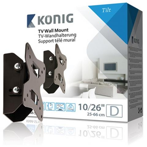 KONIG König KNM-ST10, 50 x 50, 75 x 75, 100 x 100 mm, Nero, 0 - 15°, Scatola