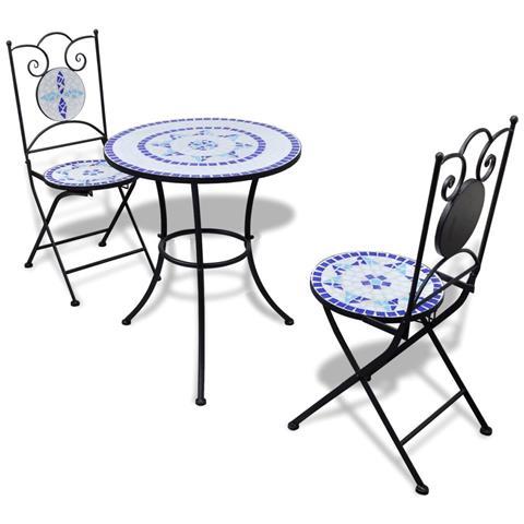 Tavolo da Bistro 60 cm con Mosaico e 2 Sedie Blu / Bianco