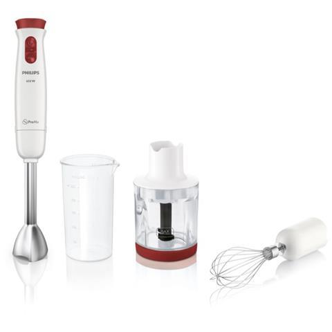 HR1625/00 Daily Collection Frullatore ad Immersione Potenza 650 Watt Colore Bianco / Rosso