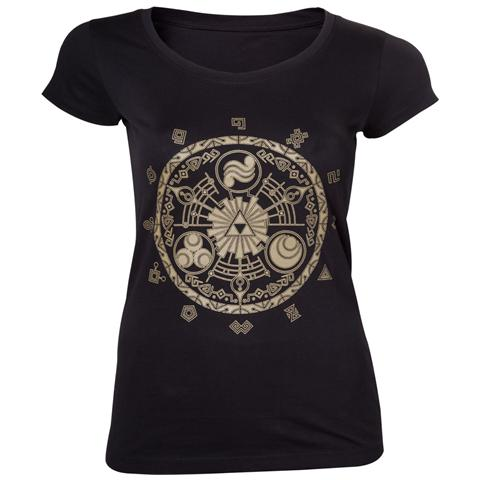 BIOWORLD Nintendo - Zelda Gate Of Time Gold Print (T-Shirt Donna Tg. S)