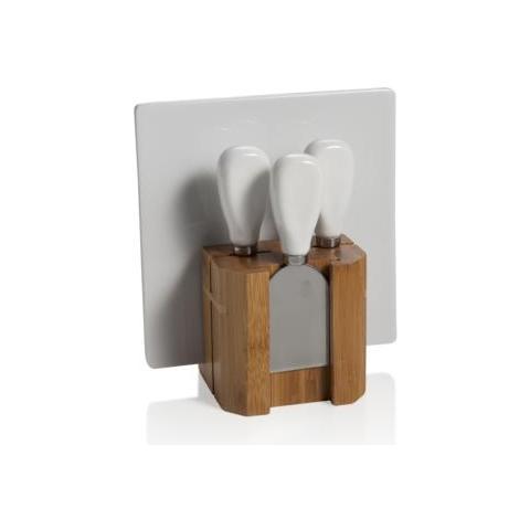 Ceppo Bamboo con 3 Coltelli Formaggio e Tagliere Bianco Porcellana