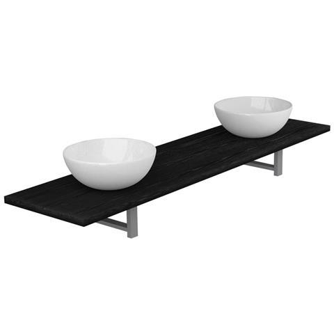 Set Mobili Da Bagno 3 Pz In Ceramica Nera