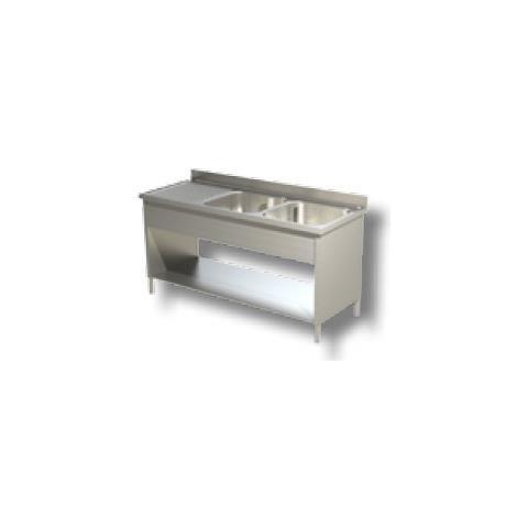 Lavello 160x70x85 Acciaio Inox 430 Su Fianchi Ripiano Cucina Ristorante Rs4846