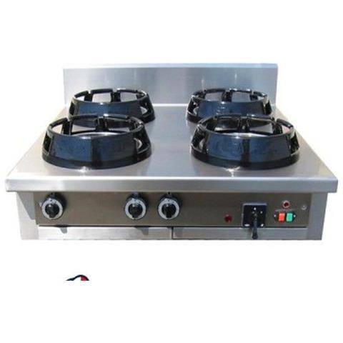 Cucina Wok etnica cinese giapponese a gas - a 4 fuochi da banco 1000x1000x850h mm