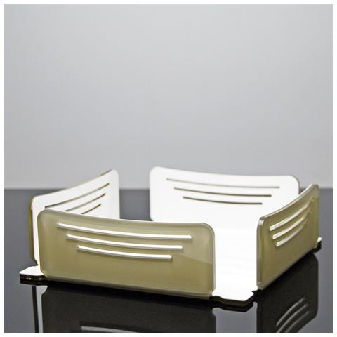 Portatovaglioli Porta Tovaglioli Da Tavolo Design Moderno In Plexiglass Tansy - Colore Tortora E Bianco