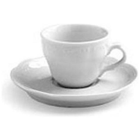 Tazza da Caffè con Piattino Decorazione in Rilievo Bianca