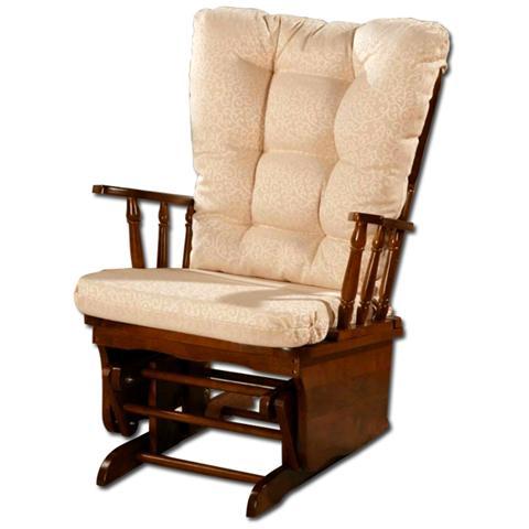 HOMEGARDEN Poltrona riposo relax dondolo oscillante in legno massello di design