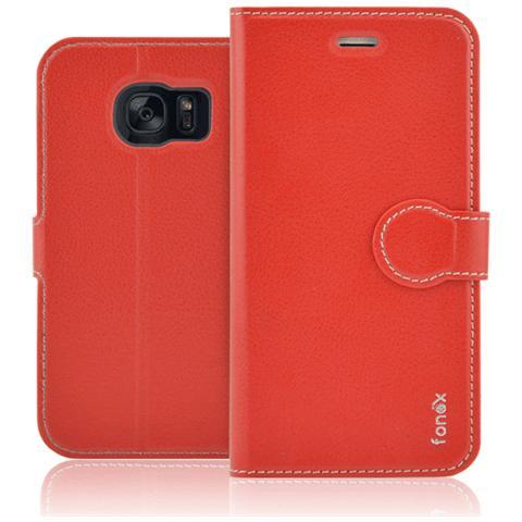 FONEX Identity Book Custodia a Libro per Galaxy S6 Edge Colore Rosso