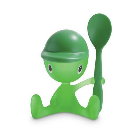 Alessi Portauova Cico con cucchiaino e saliera colore verde