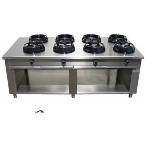 Cucina Wok etnica cinese giapponese a gas - a 8 fuochi su vano aperto 2000X1000X850h mm