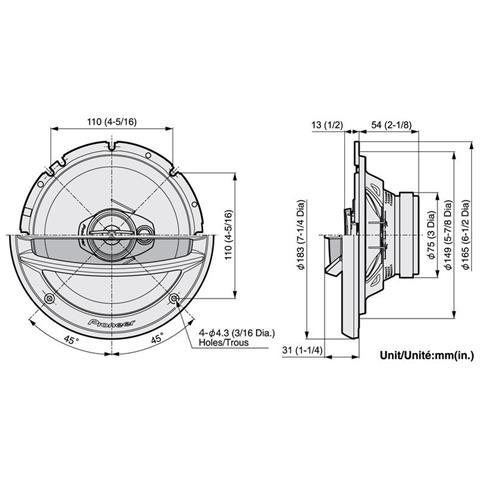 PIONEER TS-A2013I, 3-vie, 25 - 28000 Hz