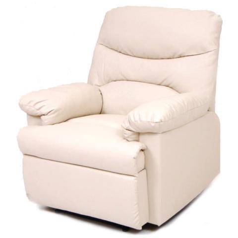 HOMEGARDEN Poltrona relax reclinabile in cuoio color crema 90x90xH 101 cm