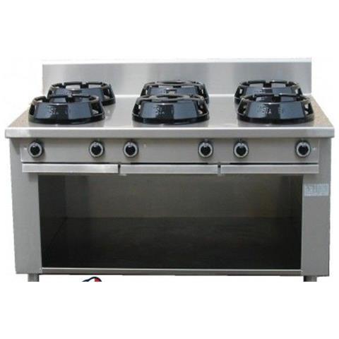 Cucina Wok etnica cinese giapponese a gas - a 6 fuochi su vano aperto 1500X1000X850h mm