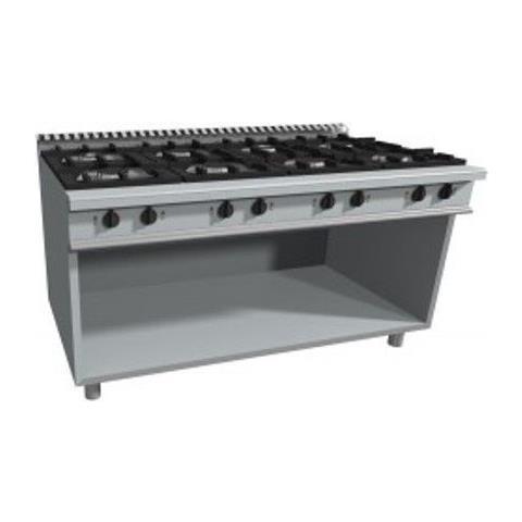 Cucina 8 fuochi a gas su vano a giorno - Dim. cm 180x90x85h