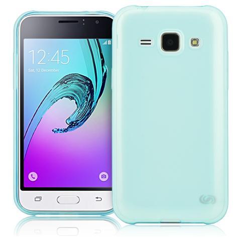 FONEX Inv Cover Ultra Sottile 0,2 mm in Morbido TPU per Galaxy J1 (6) Colore Blu Trasparente