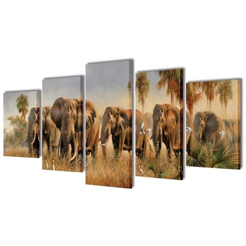 vidaXL 5 Pz Set Stampa Su Tela Da Muro Elefanti 200 X 100 Cm