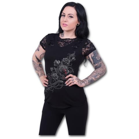 SPIRAL Fatal Attraction - 2In1 Ripped Black Lace (Top Donna Tg. S)