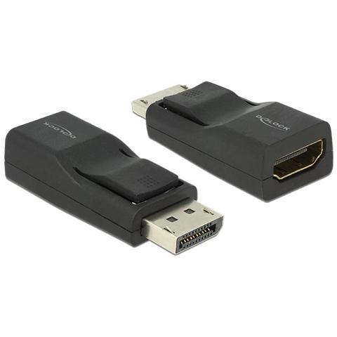 DeLOCK Displayport / HDMI, Displayport, HDMI, Maschio / femmina, Nero, Nichel, 3840 x 2160 Pixels
