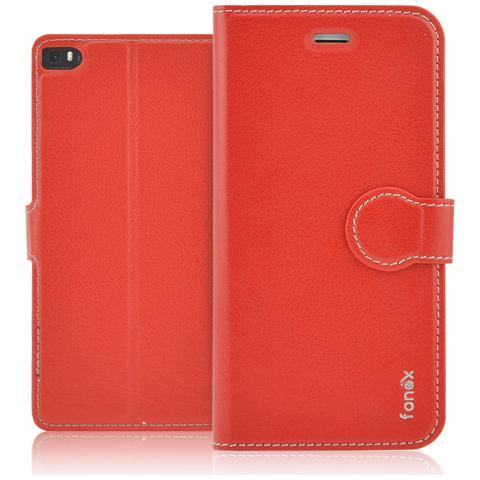 FONEX Identity Book Custodia a Libro per Huawei P8 Colore Rosso