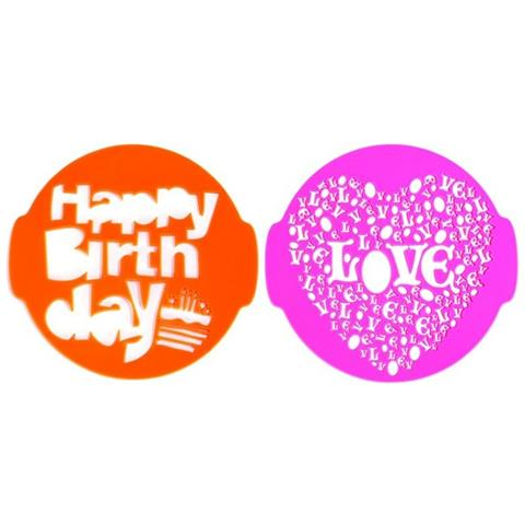 Pavoni idea Set 2 Stencil Per Torta Happy Birthday E Love