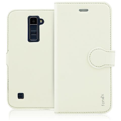 FONEX Identity Book Custodia a Libro per LG K10 Colore Bianco