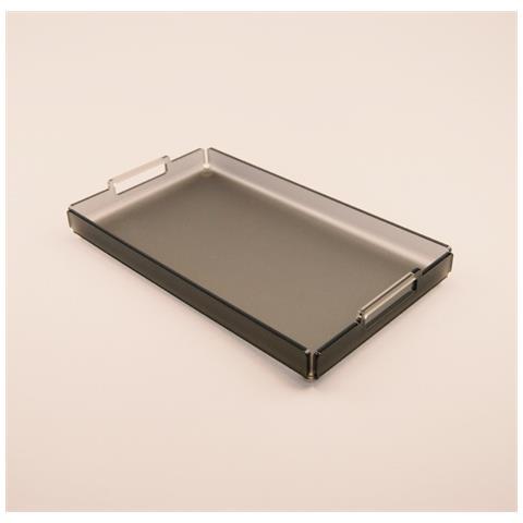 Vassoio Rettangolare Da Portata Design Moderno In Plexiglass Agave Grande (35.5 × 20.5 × 2.5 Cm) - Colore Grigio Satinato