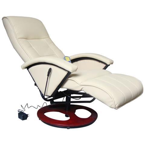 vidaXL Poltrona Relax Massaggio Lusso Isa, Reclinabile, crema