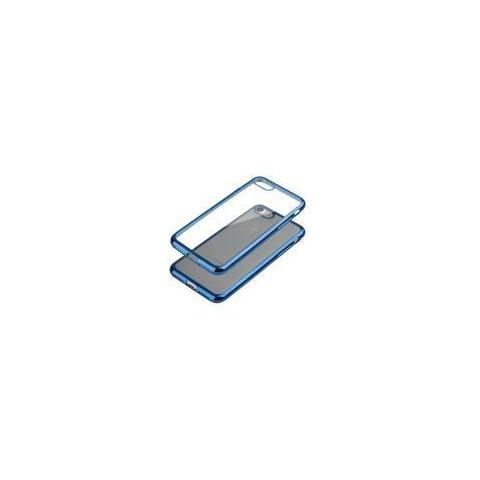 Universal Custodia Iphone 7 4.7 Tpu Satin Glossy Blu Con Retro Trasparente