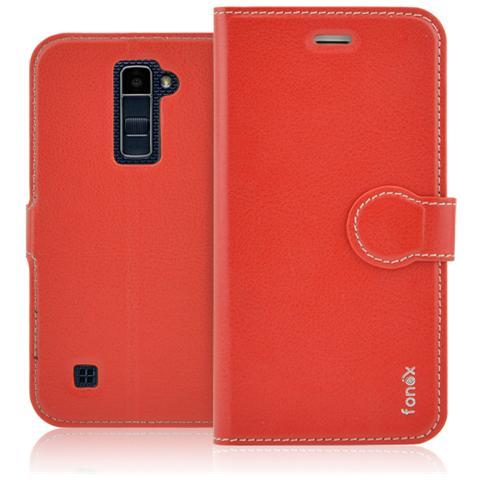 FONEX Identity Book Custodia a Libro per LG K10 Colore Rosso