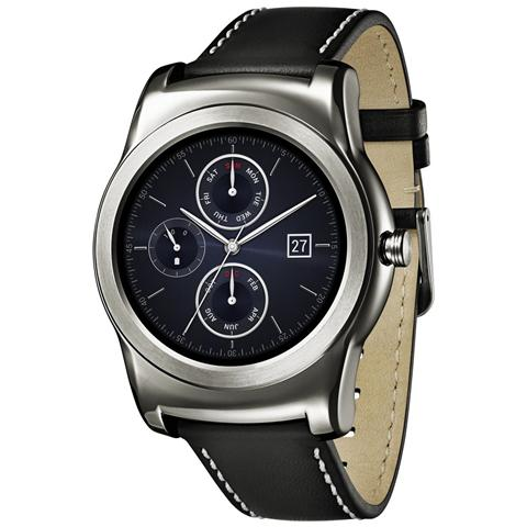 "LG W150 Watch Urbane Silver Display P-Oled 1.3"" Cassa in acciaio e cinturino in pelle, cardiofrequenzimetro - Android Wear - Europa"