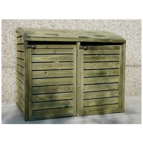 Porta Bidoni Doppio Per Esterno 145.6x92x120 Cm. Solid
