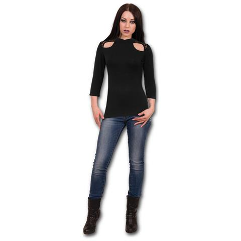 SPIRAL Gothic Elegance - Lace Shoulder 3/4 Sleeve (Maglia Manica Lunga Donna Tg. M)