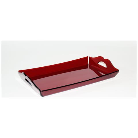 Vassoio Rettangolare Da Portata Design Moderno In Plexiglass Aster Grande (38.5 × 24.5 × 3 Cm) - Colore Rosso