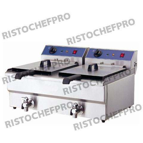 Friggitrice Elettrica Doppia Nuova Inox Professionale 2x16 Litri Monofase 5 Kw