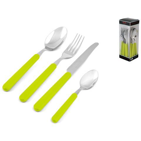"""HOME Servizio Posate 24 Pezzi """"colorando"""" Verde Tavola Cucina"""