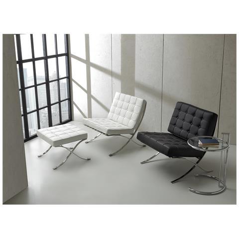 La Seggiola Pouf Bikini-ecopelle Bianco-metallo-cromato Sedute Comode, Confortevoli Di Design