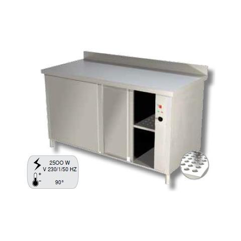 Tavolo 130x70x85 Acciaio Inox 430 Caldo Scalda Riscalda Piatti Alzatina Ristorante Rs4621