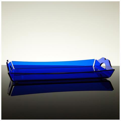 Vassoio Rettangolare Da Portata Design Moderno In Plexiglass Aster Grande (38.5 × 24.5 × 3 Cm) - Colore Blu