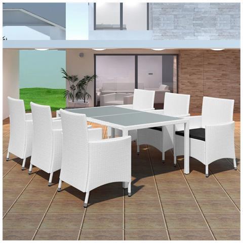 13 Pz Set Sedie / tavolo Da Giardino In Polirattan Bianco Crema