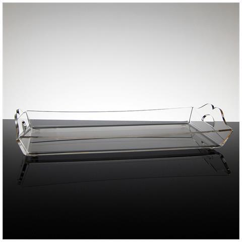 Vassoio Rettangolare Da Portata Design Moderno In Plexiglass Trasparente Aster Piccolo (31.5 × 18 × 2.5 Cm)