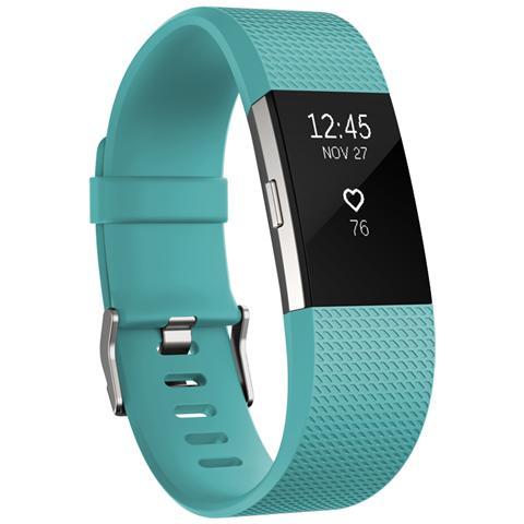 Fitbit Charge 2 Braccialetto Wireless taglia L per monitoraggio Attività fisica e Sonno - Verde Acqua / Argento