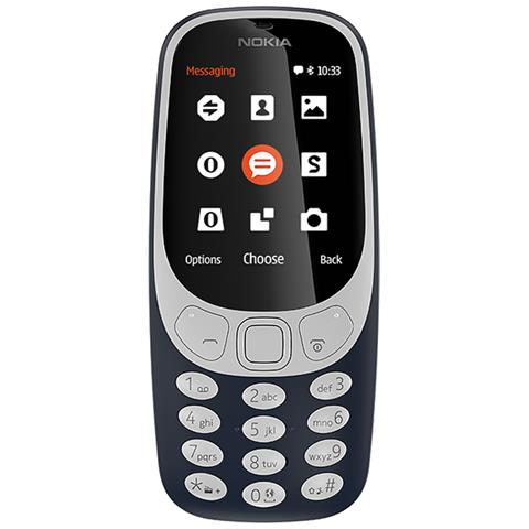 "NOKIA 3310 Blu Dual Sim Display 2.4"" +Slot MicroSD con Bluetooth RadioFM e Fotocamera 2Mpx - Italia"