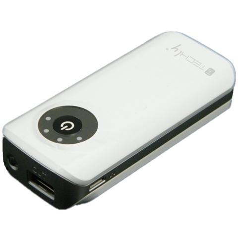 TECHLY Batteria Supplementare Universale Usb 5200 mAh con indicatore di carica e torcia led - Bianco