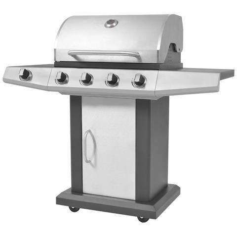 Barbecue Bruciatori 4 + 1 A Gas Con Griglia Nero E Argento